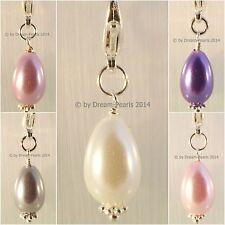 ♥ Dream-Pearls Charm Anhänger Glas Tropfen Muschelkern Optik Lila Weiß Rosa ♥