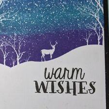 Winter scene Handmade Greeting Card, deer, tree, ombre, Christmas, birthday, man