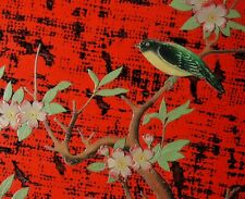 """SPECTACULAR 16"""" ANTIQUE JAPANESE RED LACQUER TRAY Bird Cherry Blossoms Sakura"""