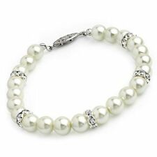 Cream Colour Pearl Beads & Glass Crystal Bracelet Wedding Party Bridesmaid