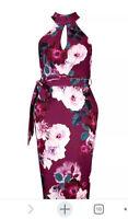 NWT Boohoo Plum High Neck Sleeveless Floral Dress Size 8