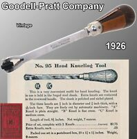 Goodell Pratt Company Hand Held Knurl Rare 1926 Nickle plated