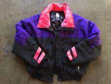 Vintage 80s Alpine Design Ski Jacket sz Large Neon Pink Purple Black