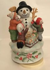 Rotating Snowman Music Box w/ Children Sledders Christmas Plays Jingle Bells L17