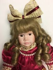 """Vintage 16"""" Victorian Porcelain Doll in Mauve Dress, Bow and Curls"""