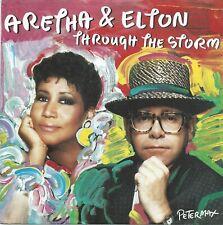 "Aretha Franklin & Elton John-Through the Storm (7"" Arista VINILE-Single 1989)"