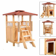 Cat House Shelter Cat Tree Pet Roof Condo Wood Balcony Puppy Stairs In/Outdoor