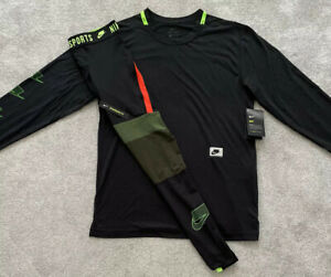 NEW Mens Nike NSW Graphic LS Top & Nike Pro Clash Leggings Dri-Fit SET Gym SMALL