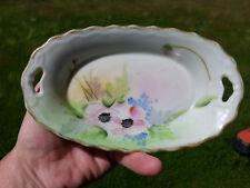 Vintage Hand Painted Violets & Gold Nippon Oval Trinket Dresser Soap Dish