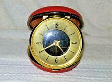 Vintage ELGIN TRAVEL ALARM CLOCK RED CLAM SHAPE CASE - Runs