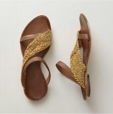 CYDWOQ Siamese Slides Sandals Sz 39 9 Mustard Leather Handmade NIB Retail $260