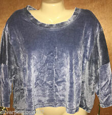 NWT Misses Blue Velour Lounge Crop Top from Te Verde Size M