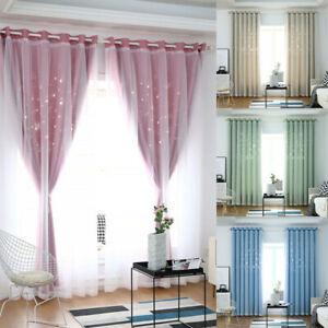Doppelschicht Vorhang Vorhänge Tüllgardine Sterne Gardinen Schlafzimmer Deko DE