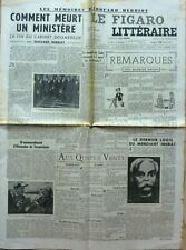 Journal LE FIGARO LITTERAIRE 1952:  GEORGES SIMENON_EDOUARD HERRIOT