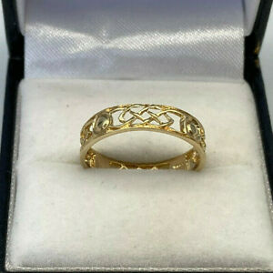 9ct Gold Hallmarked 4mm Wide Filigree Band Ring.  Goldmine Jewellers.
