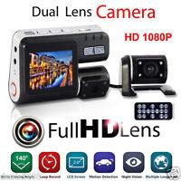 Dual Lens HD 1080p Car DVR Dash Cam Recorder Night Vision G-sensor + Rear Camera