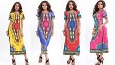 Pharaoh Women Ancient Totem African Tribal Full Maxi Long Dress Dashiki 8-16 12