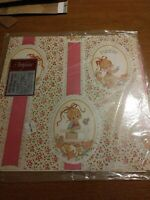 VTG PUDDIN GIRL PINK GREEN BEIGE FLORAL WRAPPING PAPER GIFT WRAP 2 SHEETS NIP