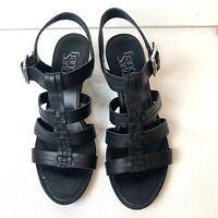 "FRANCO SARTO Derica Black Leather Wedge 2.5"" Heel Sandals Strappy Women's size 7"