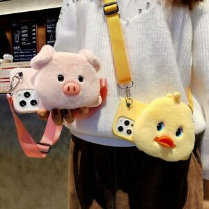 Crossbody Duck Wallet Cute Cartoon Plush Coin Purse Case Cover For Various Phone