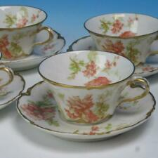 Haviland Limoges France - Flowers - 4 Cups and Saucers