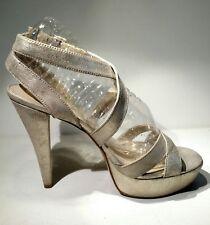 NINEWEST Sz8 metallicGold leather crosses buckle sandals straps 5inch heel 1½inc