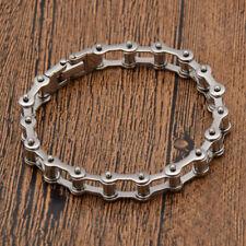 Motorcycle Biker Bangle Silver Stainless Steel Chain Bracelet Rock Cool