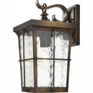 Home Decorators Collection Wall Lantern Sconce 14-Inch 1-Light Glass Bronze