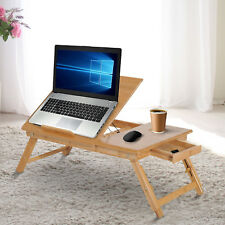 Foldable Bamboo Laptop Stand Notebook  PC Desk Table Stand Bed Tray