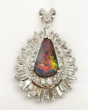 18k White Gold 3.54 Ct Natural Diamond & Boulder Opal Cluster Pear Shape Pendant