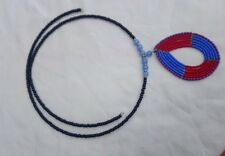 Tribal Glass Seed Bead Beaded Red Black Blue Necklace And Pendant