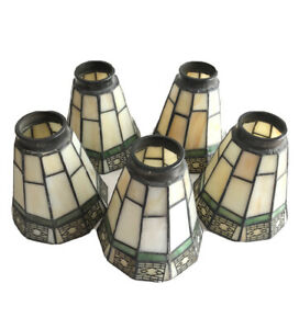 """5 Antique Lead & Stain Glass Pendant Lamp Shades 5"""" Tall Flaws"""