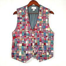 Christopher & Banks Women's Multicolor Patch Quilt Plaid Chambray Button Vest M