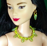 Barbie Dreamz CHARTREUSE & YELLOW Beads CHOKER NECKLACE EARRINGS Doll Jewelry