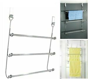 3 Tier Bars Towel Rail Chrome Over The Door Bathroom Hanging Storage Rack Holder