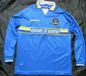 EVERTON FC home LONG SLEEVE shirt jersey UMBRO 1997-1999 The Toffees men SIZE XL