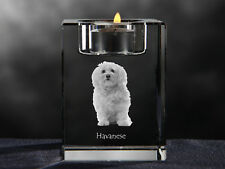 Havanese, crystal candlestick with dog, souvenir, Crystal Animals Usa
