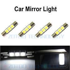 4 x Xenon White 3-SMD 6641 LED fuse Bulbs For Car Sun Visor Vanity Mirror Lights