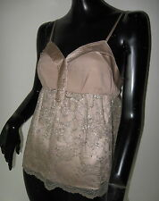 PHILLIP LIM TAUPE NUDE COLORED CAMISOLE TOP WITH METALLIC LACE OVERLAY 8 (US4)