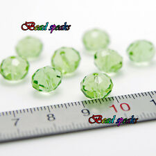30 pcs 10×8 mm Light Green Faceted Rondelle Glass Crystal Beads CC305
