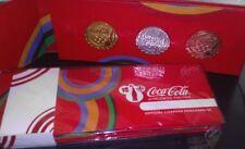Londres 2012 jeux olympiques coca cola 3 bottle cap set or, argent, bronze pin badges