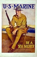"""Vintage USMC Recruiting  Poster """"Be a Sea Soldier"""""""