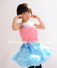 Newborn Baby Girl Sky Blue Pettiskirt Skirt Tutu Light Pink Lace Tube Top 1-8Y