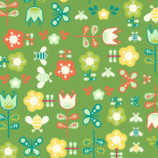 SALE Andover Cosmo Cricket Girl Friday Flower Flowers Green Cotton Fabric Yard