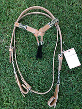 Western Natural Rawhide Braided full Head stall with horse hair