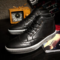 Mens autumn Leather lace up High Top Sneakers Brogue Oxford Shoes Ankle Boots