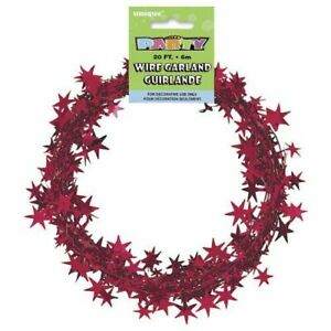 20ft RED WIRE FOIL GARLAND Christmas Star Wire Foil Garland Decorations