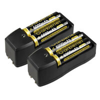 4pc Garberiel BRC Battery 3.7V Rechargeable Batteries + Dual Charger for Torch