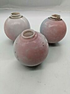 Antique Lightening Rod Balls Set of Three Tri-colored (White, Pink, Blue) 1920's