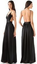 ONE by Contrarian Babs Bibb Maxi Dress Size 4 Black 100% Silk Great Condition